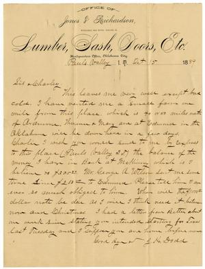Primary view of object titled '[Letter from James K. Dodd to Mary Ann and Charles B. Moore, October 15, 1889]'.