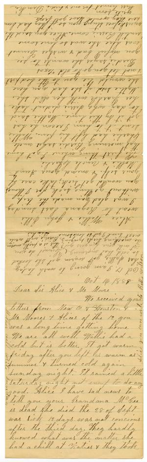 Primary view of object titled '[Letters from Adelitia McGee to the Moore family and Alice McGee, October 16-17, 1889]'.