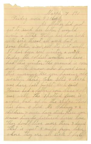 Primary view of object titled '[Letter from Dinkie McGee to Alice Linnet, Sis, and Mr. Moore, March 7, 1890]'.