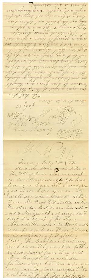Primary view of object titled '[Letter from Matilda Dodd and Dinkie McGee to Sis and Mr. Moore, July 27, 1890]'.