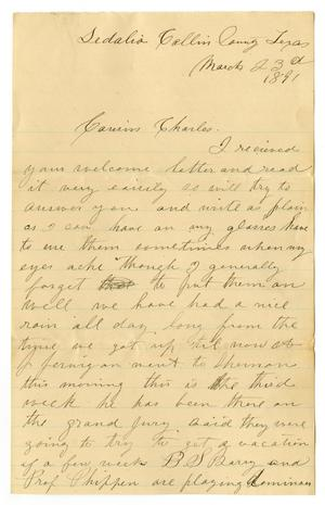 Primary view of object titled '[Letter from Laura Jernigan to Charles B. Moore, March 23, 1891]'.