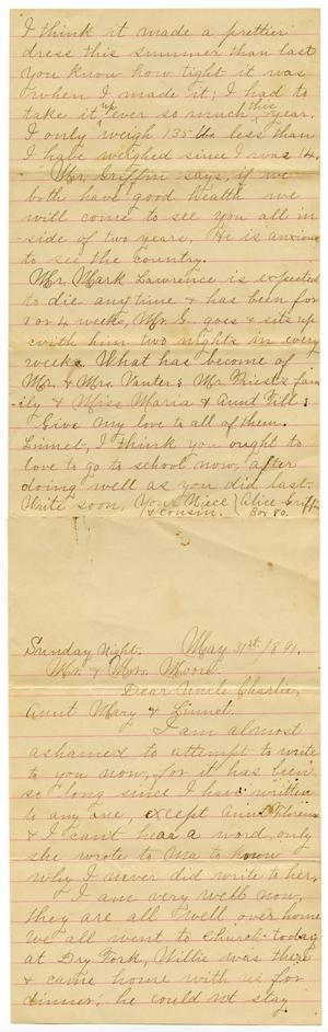 Primary view of object titled '[Letter from Alice Griffin to Mary, Linnet, and Charles B. Moore, May 31, 1891]'.