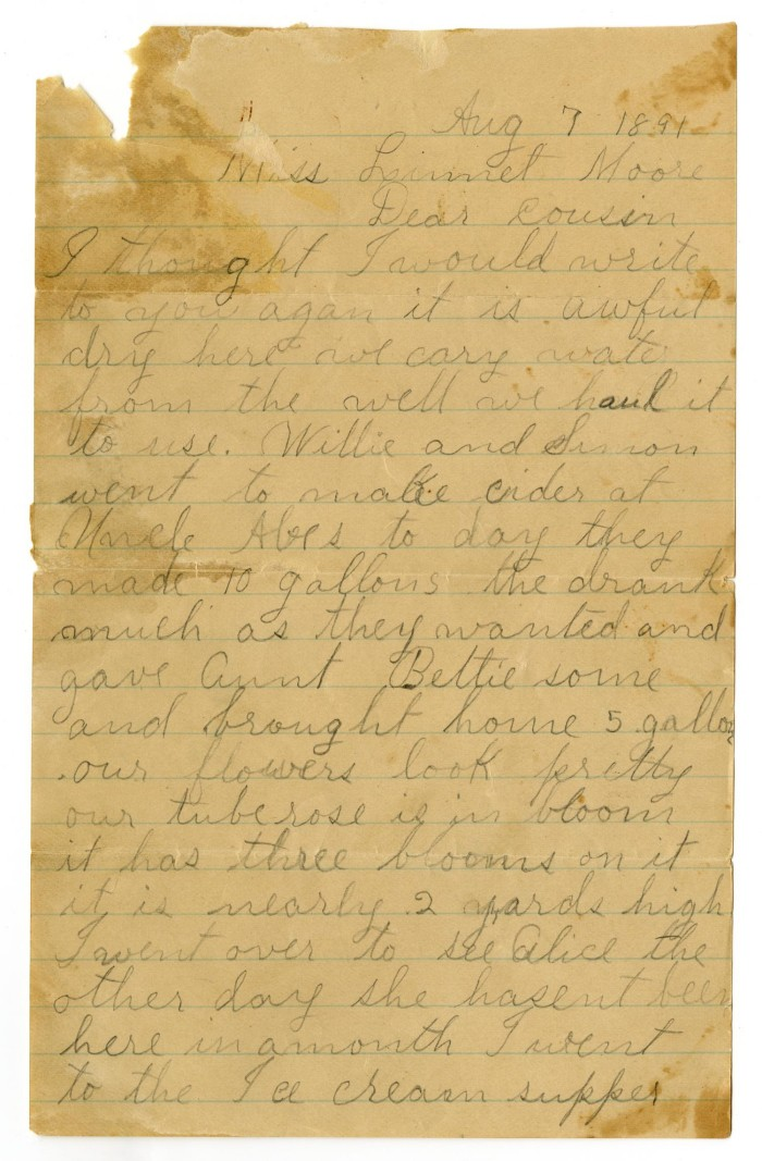 Letter From Dinkie And Birdie McGee To Mary Linnet And Charles B