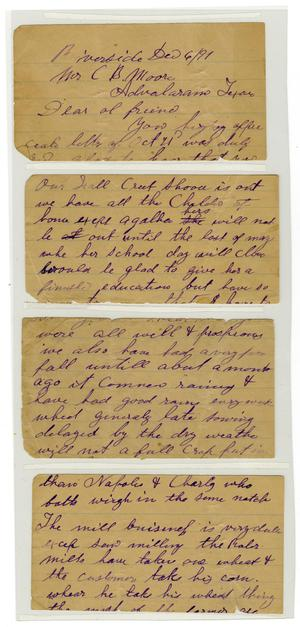 Primary view of object titled '[Letter from Tarply, E. D. to Charles B. Moore, December 6, 1891]'.