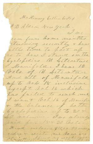 Primary view of object titled '[Letter to J. B. Alden]'.