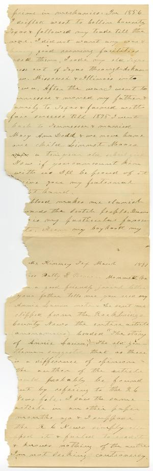 Primary view of object titled '[Letter from Charles B. Moore to Patty Brown, March 1891]'.