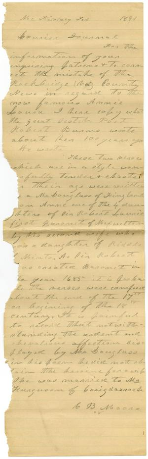 [Draft of letter, 1891]