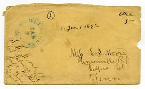 Primary view of object titled '[Envelope from J. C. Moore to Miss E. J. Moore, January 1, 1862]'.