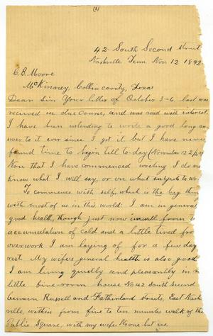 [Letter from Travis Winham to Charles B. Moore, November 12, 1892]
