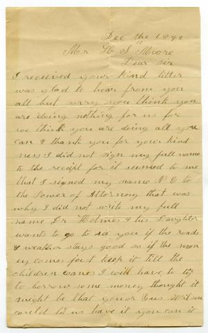 Primary view of object titled '[Letter from A. E. Wallace to H. S. Moore, December 10, 1892 ]'.