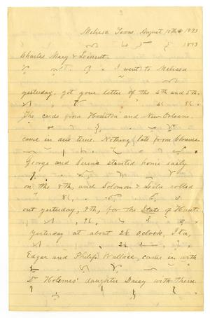 Primary view of object titled '[Letter from Henry S. Moore to Charles, Mary and Linnet Moore, August 10, 1893]'.