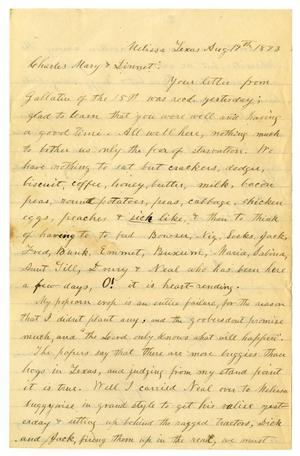 Primary view of object titled '[Letter from Henry S. Moore to Charles, Mary and Linnet Moore, August 19, 1893]'.