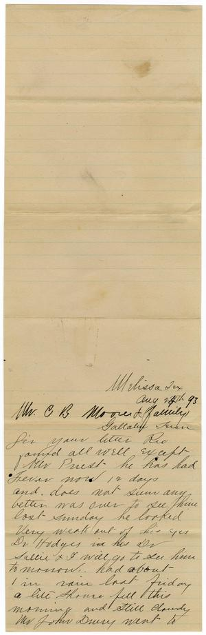 Primary view of object titled '[Letter from from Mr. Graves to Charles B. Moore, August 24, 1893]'.