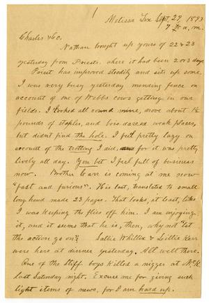 Primary view of object titled '[Letter from H. S. Moore to Charles B. Moore, September 29, 1893]'.