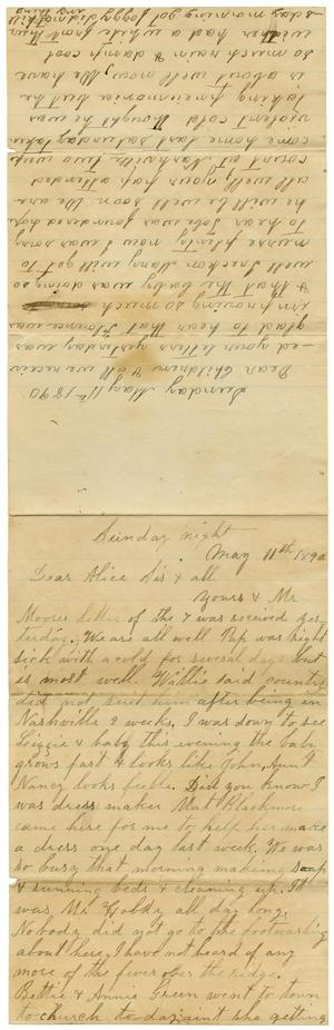 Primary view of object titled '[Letter from Adelitia McGee and Matilda Dodd to the Moore family and Alice McGee, May 11, 1890]'.