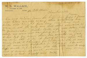 Primary view of object titled '[Letter from Camilla Wallace to Charles Moore, October 19, 1896]'.