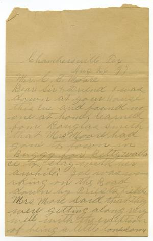 Primary view of object titled '[Letter from J. K. Drury to Linnet and Charles Moore, August 26, 1897]'.