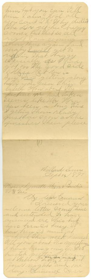 Primary view of object titled '[Letter from Mary Dodd to Linnet Moore and Birdie McGee, September 14, 1897]'.