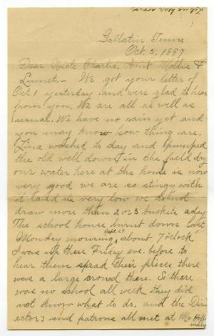Primary view of object titled '[Letter from Birdie McGee to the Moore family, October 5, 1897]'.