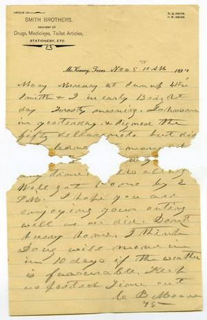 Primary view of object titled '[Letter from Charles B. Moore to Mary Moore, November 5, 1897]'.