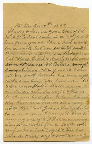 Primary view of object titled '[Letter from Mary Moore to Charles B. and Linnet Moore, November 8, 1897]'.