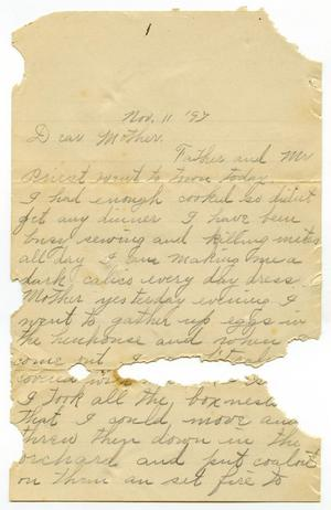 Primary view of object titled '[Letter from Linnet Moore to her mother Mary Moore, November 11, 1897]'.