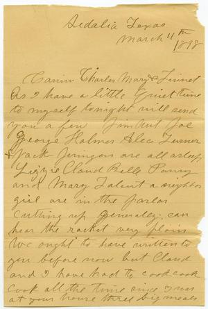 Primary view of object titled '[Letter from Laura Jernigan to Charles, Mary and Linnet Moore, March 11, 1898]'.