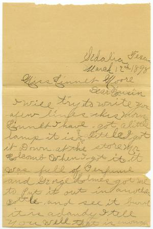 Primary view of object titled '[Letter from Pansy Jernigan to Linnet Moore, March 12, 1898]'.