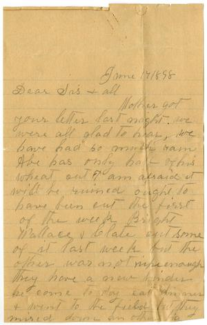 Primary view of object titled '[Letter from Elizabeth Franklin to the Moore Family, June 17, 1898]'.