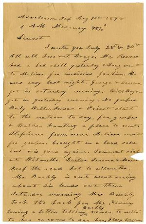 Primary view of object titled '[Letter from Charles B. Moore to Linnet Moore, August 11, 1898]'.