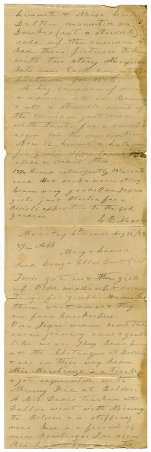 Primary view of object titled '[Letter from Charles B. Moore to Mary Ann Moore, August 24, 1898]'.