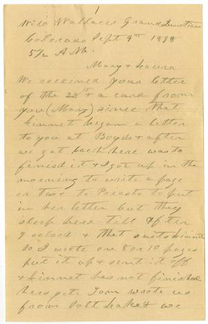 Primary view of object titled '[Letter from Charles B. Moore to Mary Ann Moore, September 9, 1898]'.