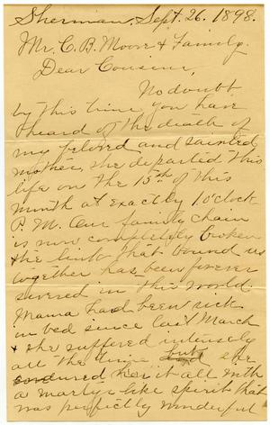 Primary view of object titled '[Letter from Kate Wallace to C. B. Moore and family, September 26, 1898]'.