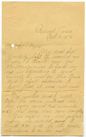 Primary view of object titled '[Letter from Minnie Rawlings to C. B. Moore, October 3, 1898]'.