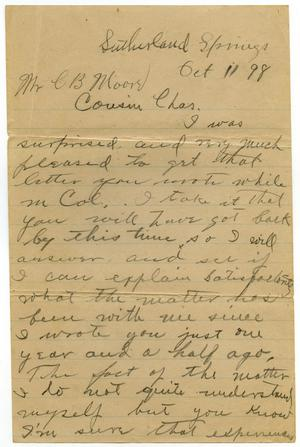 Primary view of object titled '[Letter from Neal Moore to C. B. Moore, October 11, 1898]'.