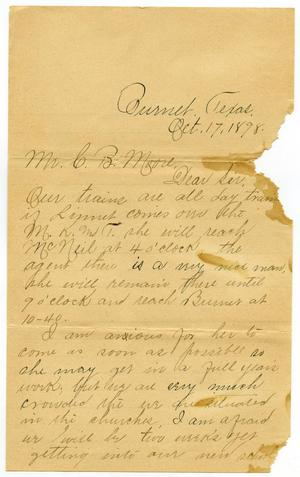 Primary view of object titled '[Letter from Minnie Rawlings to C. B. Moore, October 17, 1898]'.