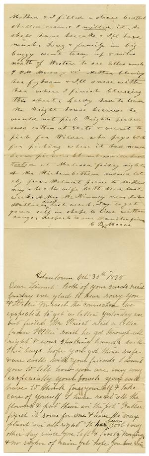 Primary view of object titled '[Letter from Mary and Charles B. Moore to Linnet Moore, October 30, 1898]'.
