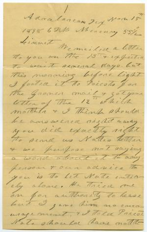 Primary view of object titled '[Letter from Charles B. Moore to Linnet Moore, November 16, 1898]'.