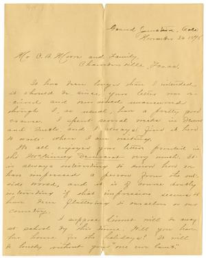 Primary view of object titled '[Letter from Camille Wallace to Charles Moore, November 26, 1898]'.
