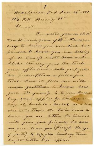 Primary view of object titled '[Letter from Charles B. Moore and Mary Moore to Linnet Moore, January 24, 1899]'.