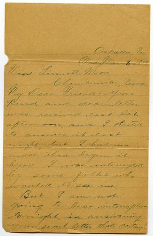 Primary view of object titled '[Letter from Jim Cook Jr. to Linnet Moore, March 6, 1899]'.
