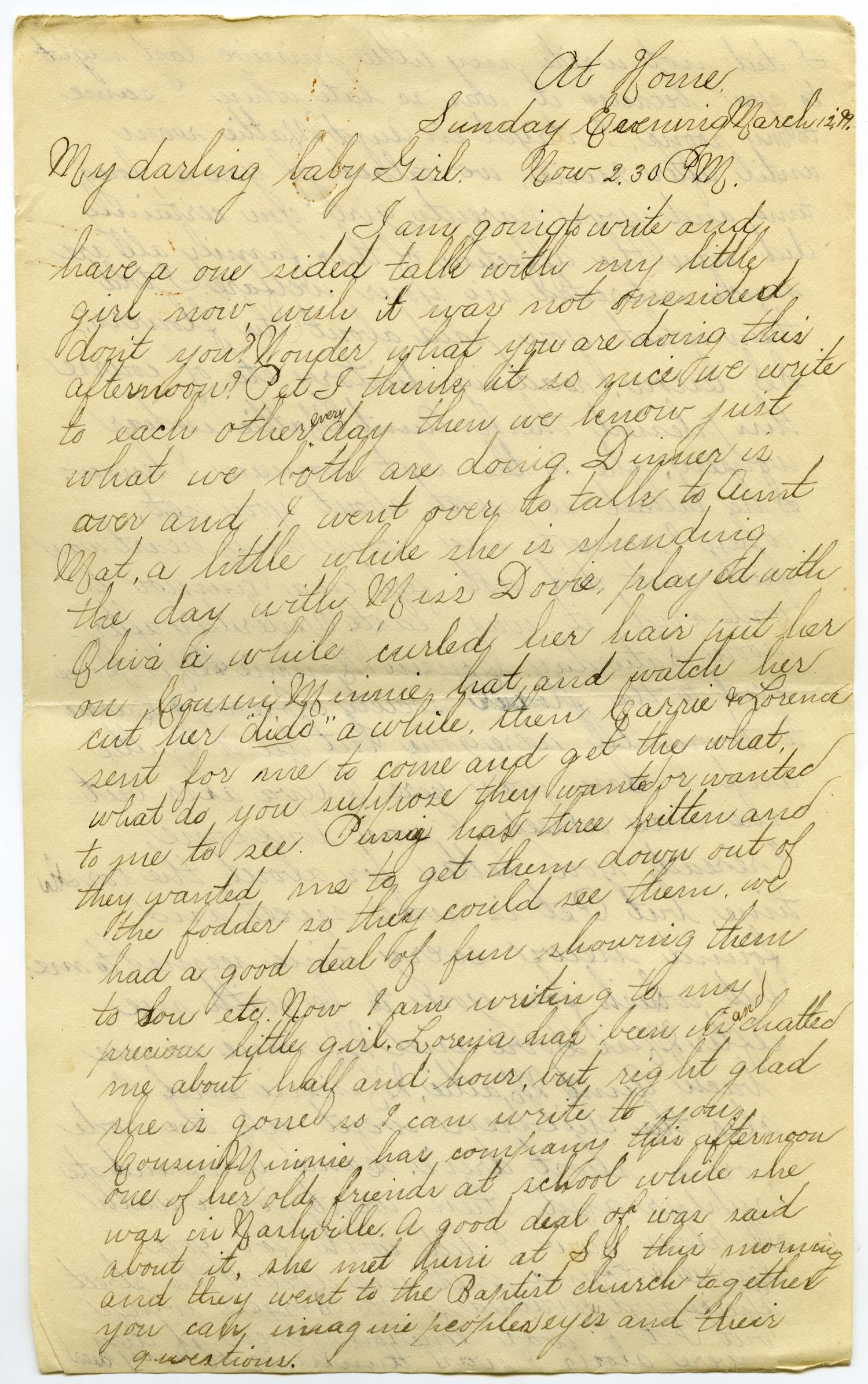 [Letter from Lula Dalton to Linnet Moore, March 12-20, 1899]                                                                                                      [Sequence #]: 1 of 28