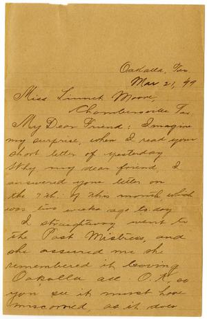 Primary view of object titled '[Letter from Jim Cook Jr. to Linnet Moore, March 21, 1899]'.