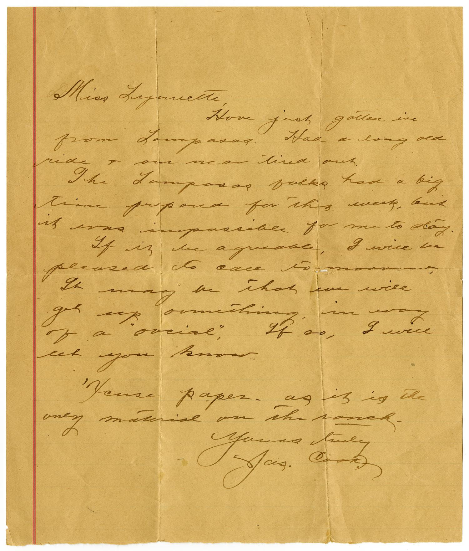 [Letter from James Cook to Linnet Moore, March 23, 1899]                                                                                                      [Sequence #]: 1 of 4