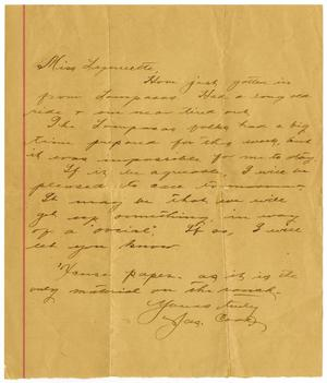 Primary view of object titled '[Letter from James Cook to Linnet Moore, March 23, 1899]'.