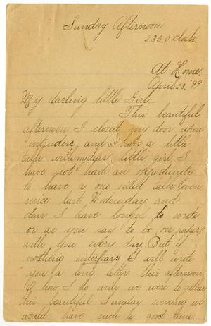 Primary view of object titled '[Letters from Lula Dalton to Linnet Moore, April 23-26, 1899]'.