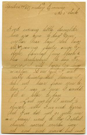 Primary view of object titled '[Letters from Lula Dalton to Linnet Moore, April 24-26, 1899]'.