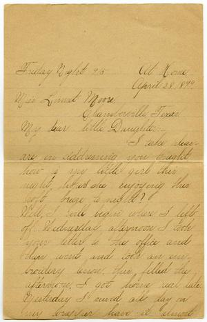 Primary view of object titled '[Letter from Lula Dalton to Linnet Moore, April 28 - May 4, 1899]'.