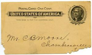 Primary view of object titled '[Postcard to Charles B. Moore, June 2, 1899]'.