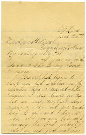 Primary view of object titled '[Letter from Lula Dalton to Linnet Moore, June 18, 1899]'.